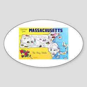 Massachussetts Map Greetings Sticker (Oval)