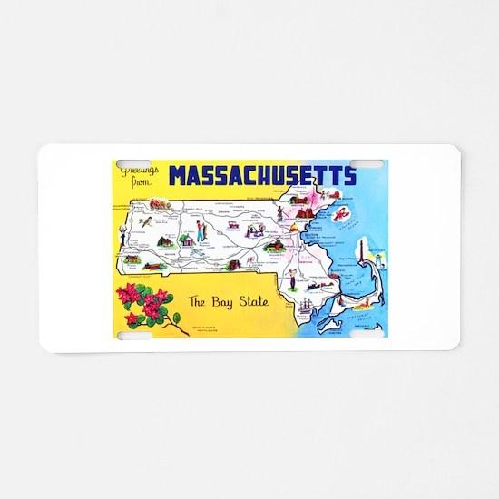 Massachussetts Map Greetings Aluminum License Plat