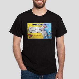 Massachussetts Map Greetings Dark T-Shirt