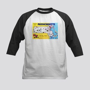 Massachussetts Map Greetings Kids Baseball Jersey