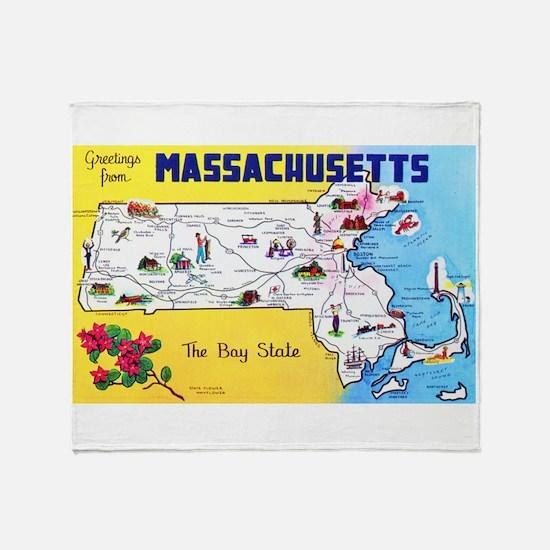 Massachussetts Map Greetings Throw Blanket