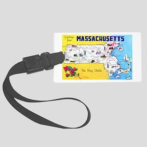 Massachussetts Map Greetings Large Luggage Tag