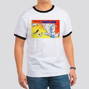 Maryland Map Greetings Ringer T