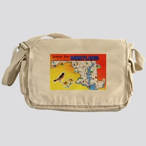 Maryland Map Greetings Messenger Bag