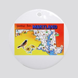 Maryland Map Greetings Ornament (Round)