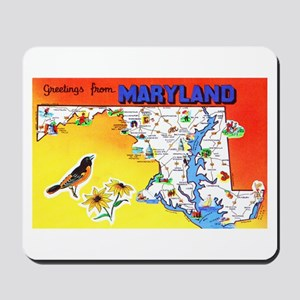 Maryland Map Greetings Mousepad