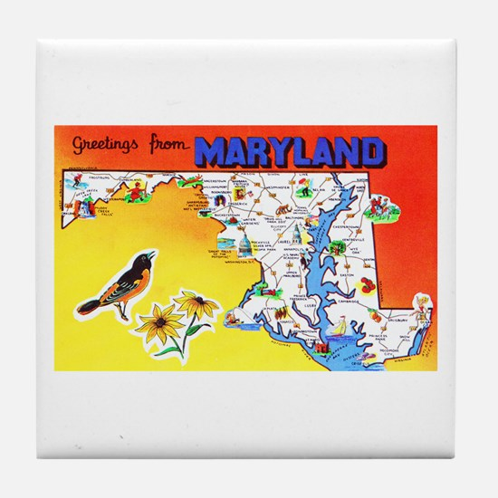 Maryland Map Greetings Tile Coaster