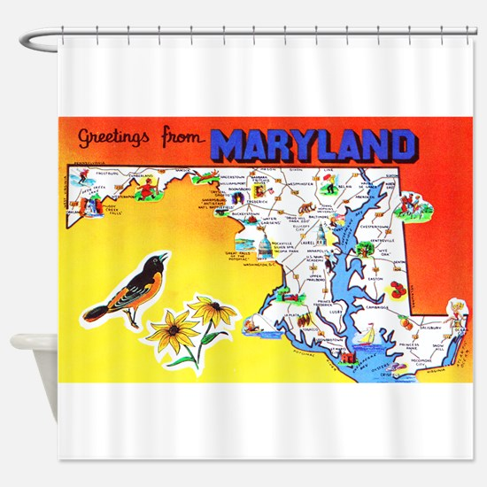 Maryland Map Greetings Shower Curtain