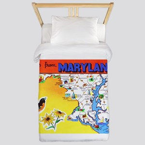 Maryland Map Greetings Twin Duvet