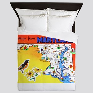 Maryland Map Greetings Queen Duvet