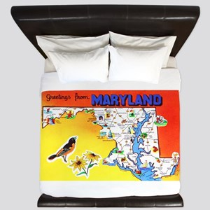 Maryland Map Greetings King Duvet