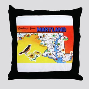 Maryland Map Greetings Throw Pillow