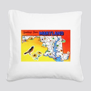 Maryland Map Greetings Square Canvas Pillow
