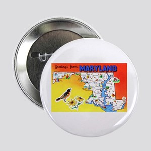 """Maryland Map Greetings 2.25"""" Button"""