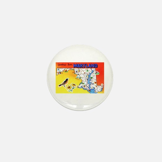 Maryland Map Greetings Mini Button