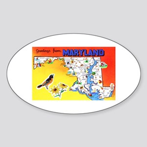 Maryland Map Greetings Sticker (Oval)