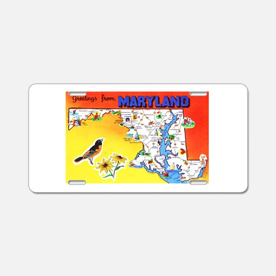 Maryland Map Greetings Aluminum License Plate