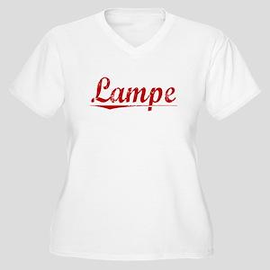 Lampe, Vintage Red Women's Plus Size V-Neck T-Shir