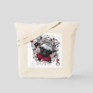 Pug Queen of Hearts Tote Bag