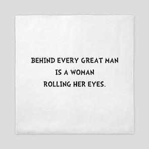 Woman Rolling Eyes Queen Duvet