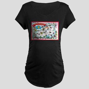 Kentucky Map Greetings Maternity Dark T-Shirt