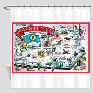 Kentucky Map Greetings Shower Curtain