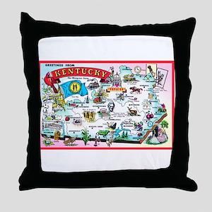 Kentucky Map Greetings Throw Pillow