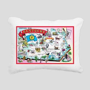 Kentucky Map Greetings Rectangular Canvas Pillow