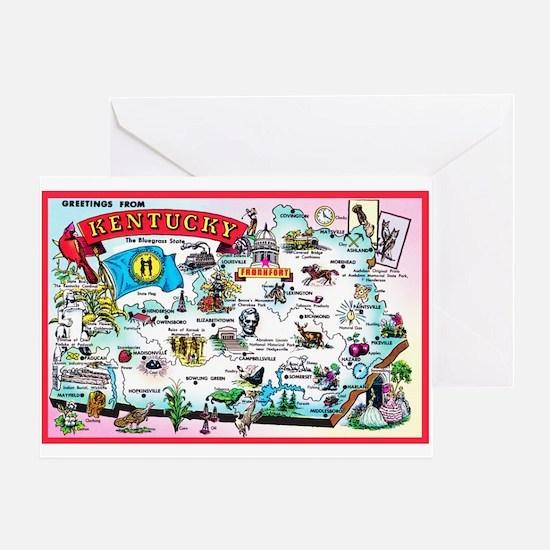 Kentucky Map Greetings Greeting Card