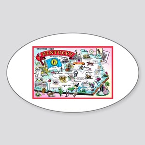 Kentucky Map Greetings Sticker (Oval)