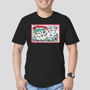 Kentucky Map Greetings Men's Fitted T-Shirt (dark)