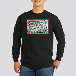 Kentucky Map Greetings Long Sleeve Dark T-Shirt
