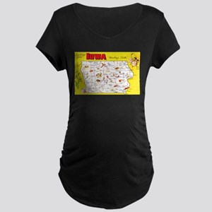 Iowa Map Greetings Maternity Dark T-Shirt