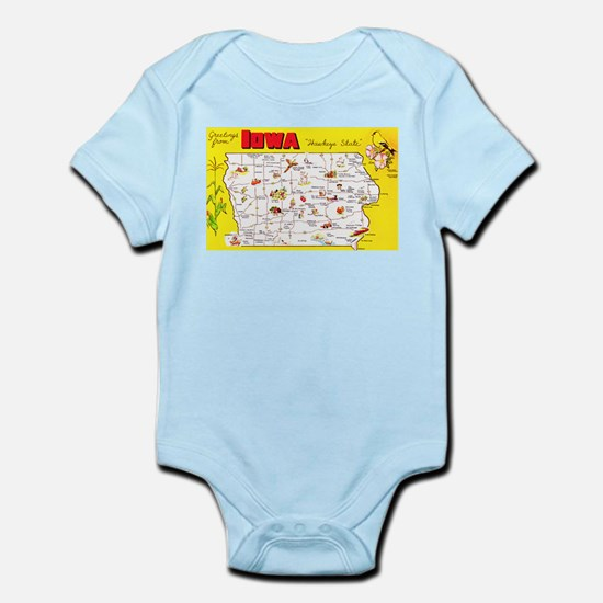 Iowa Map Greetings Infant Bodysuit