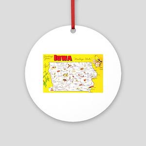 Iowa Map Greetings Ornament (Round)