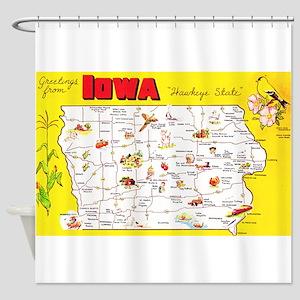 Iowa Map Greetings Shower Curtain