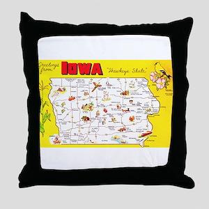 Iowa Map Greetings Throw Pillow