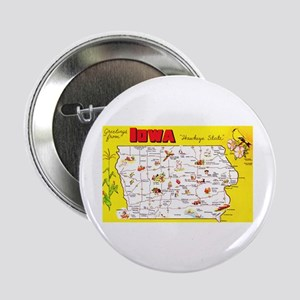 "Iowa Map Greetings 2.25"" Button"