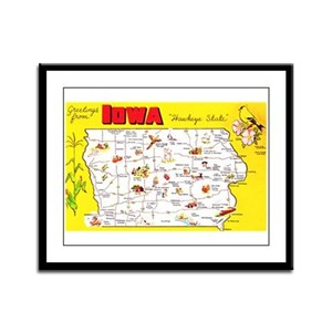 Iowa Map Greetings Framed Panel Print