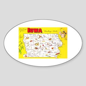 Iowa Map Greetings Sticker (Oval)