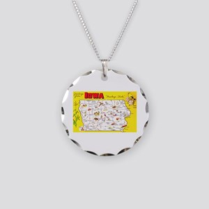 Iowa Map Greetings Necklace Circle Charm