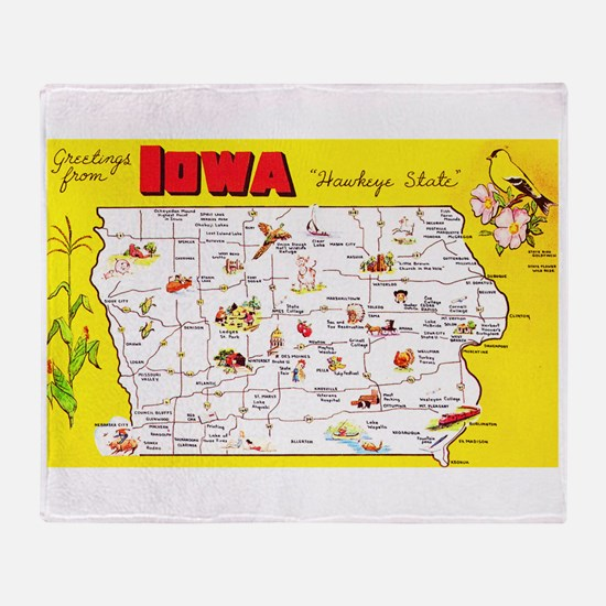 Iowa Map Greetings Throw Blanket
