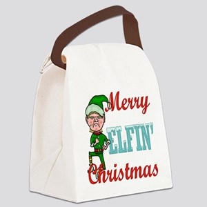 Funny Elfin Christmas Canvas Lunch Bag