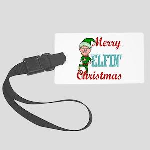 Funny Elfin Christmas Large Luggage Tag
