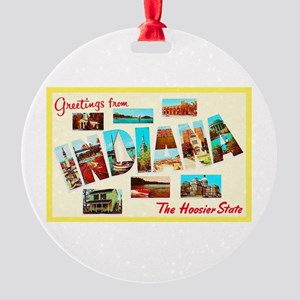 Indiana Greetings Round Ornament