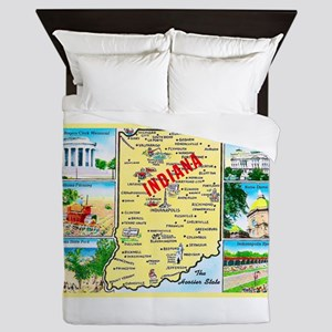 Indiana Map Greetings Queen Duvet