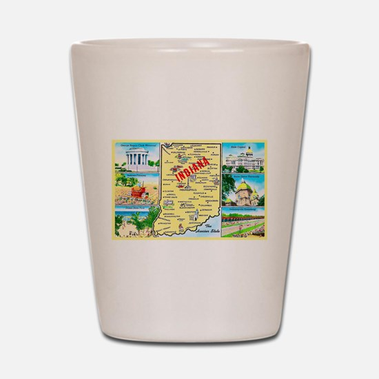 Indiana Map Greetings Shot Glass