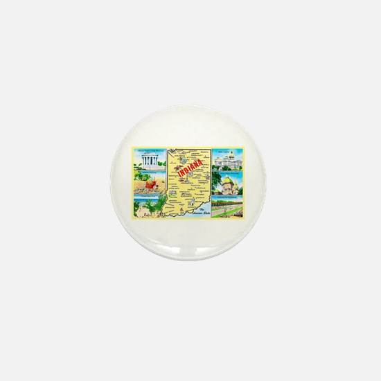Indiana Map Greetings Mini Button