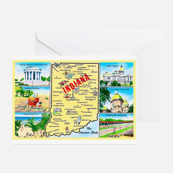 Indiana Map Greetings Greeting Card