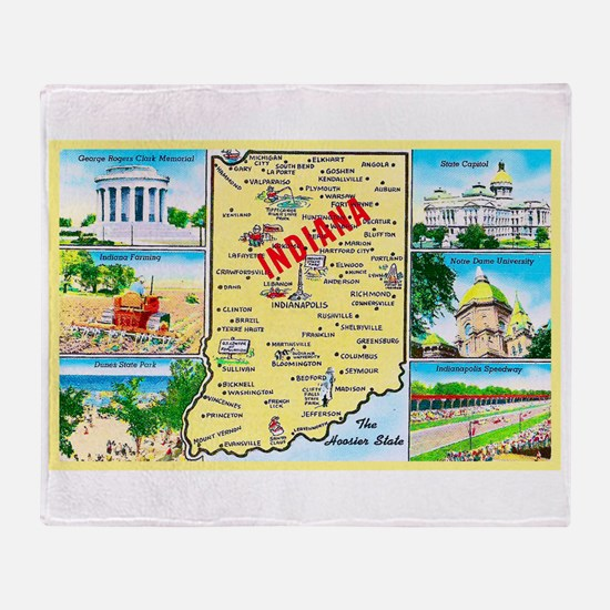 Indiana Map Greetings Throw Blanket